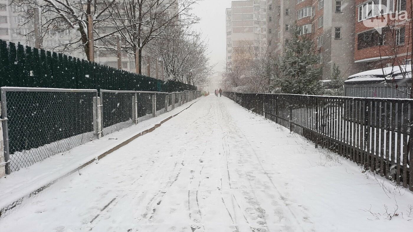 В Киеве начался снегопад. Какая ситуация на дорогах, ФОТО, фото-9