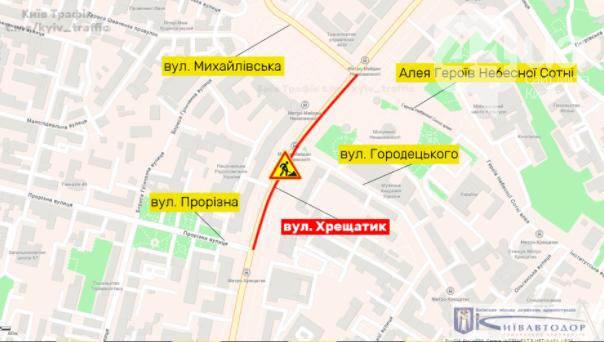 Плановое ограничение движения на ул. Хрещатик