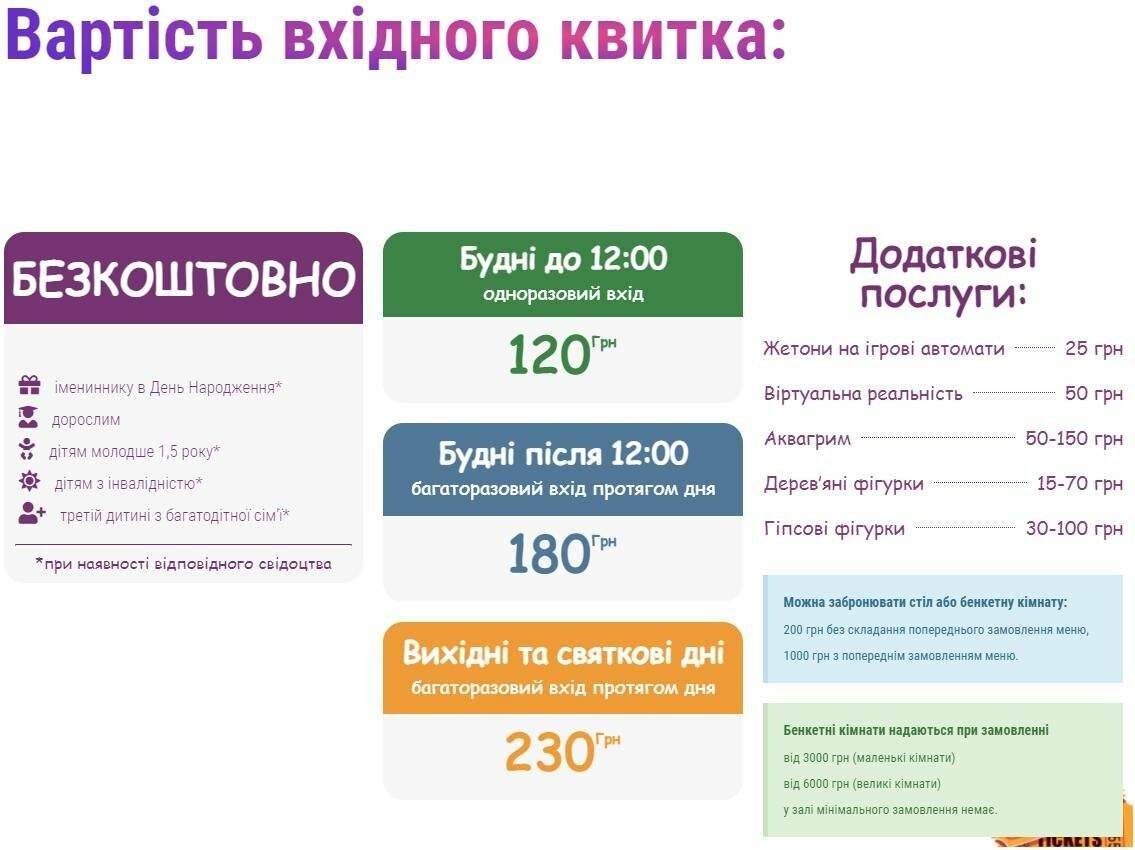 Стоимость билета в развлекательный центр в Киеве
