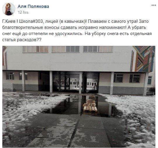 Детский дайвинг: киевские ученики вынуждены добираться к лицею вброд, фото-1
