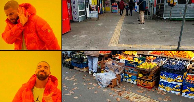 В Киеве оборудовали дорожку для слепых. Она упирается в торговые раскладки, - ФОТО, фото-2