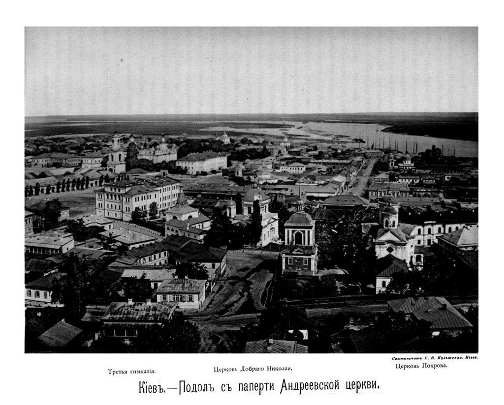 Вид на Подол с Андреевской церкви, 1888 год, Фото: wikipedia.org
