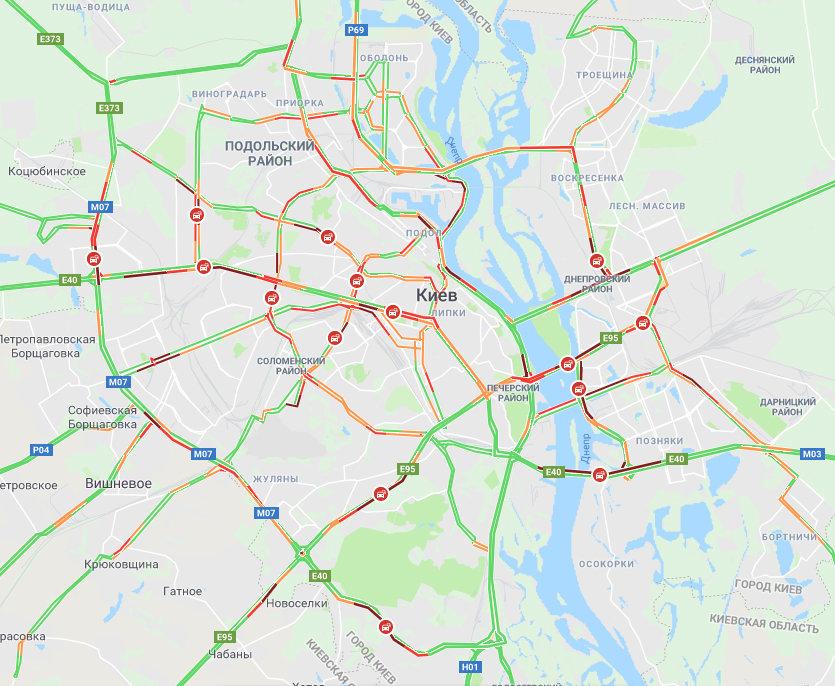 Пробки в Киеве: где образовались заторы 11 апреля, фото-1