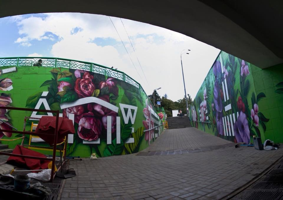 На стенах граффити: в Киеве обновили подземный переход на ВДНХ, - ФОТО, фото-2