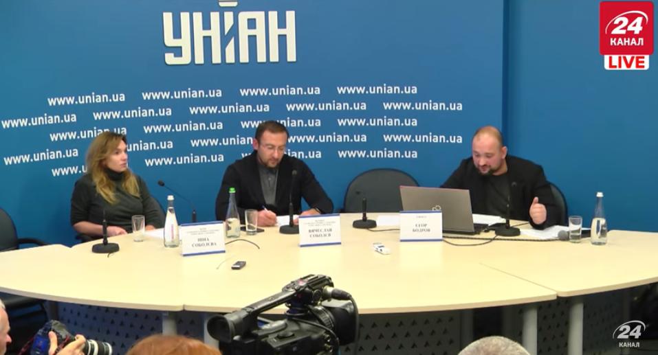 Прессконференция Соболева, его жены Инны и адвоката Егора Бодрова