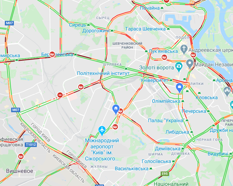 Пробки в Киеве: посмотреть на картах Google, фото-2