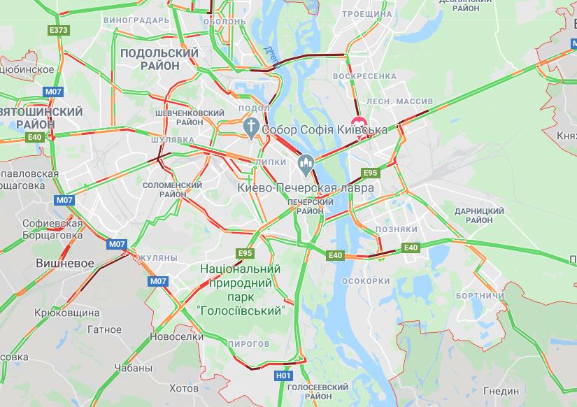 Пробки в Киеве: посмотреть на картах Google, фото-1