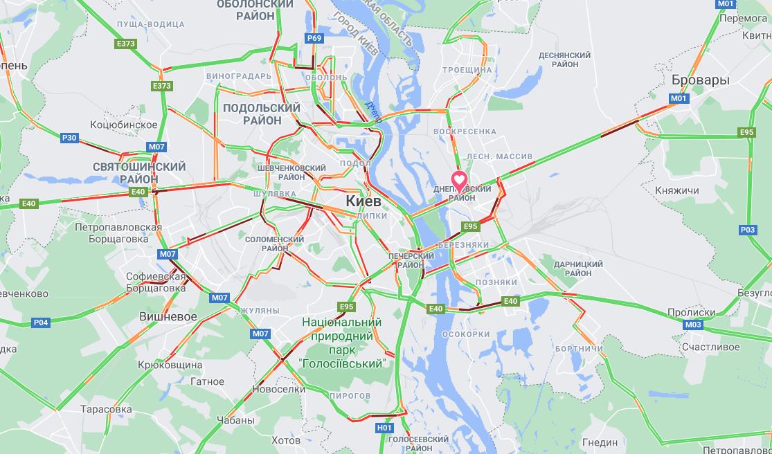 Пробки в Киеве: ситуация на столичных дорогах и мостах  - КАРТА, фото-1