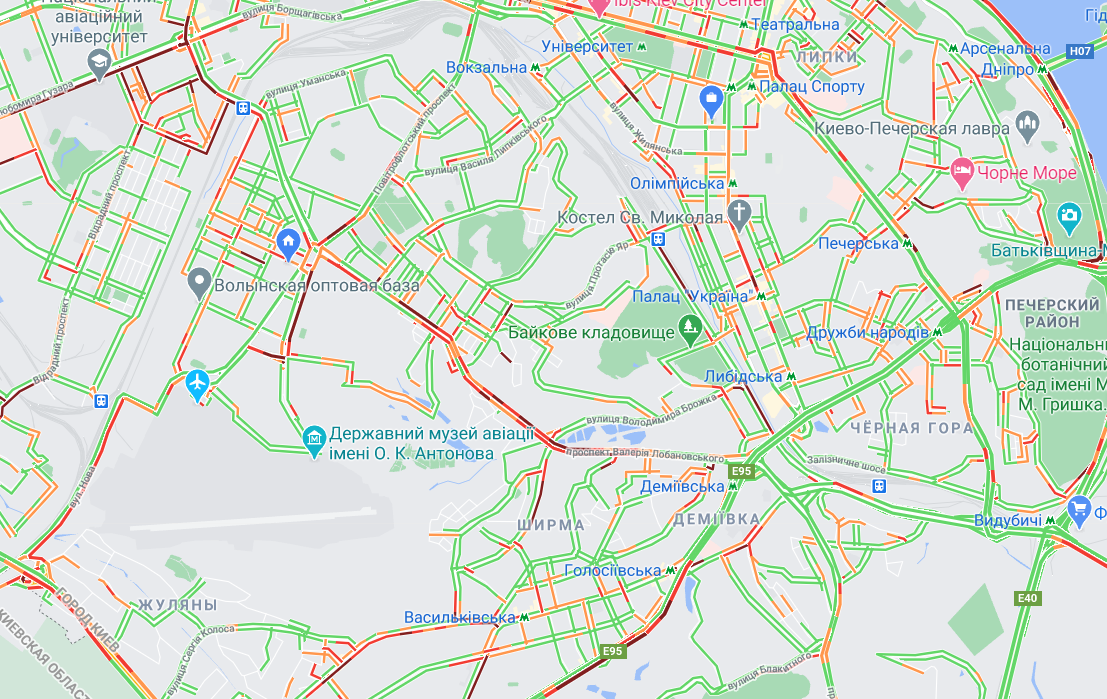 Пробки в Киеве: какие дороги самые загруженные в понедельник, 5 октября, КАРТА , фото-1