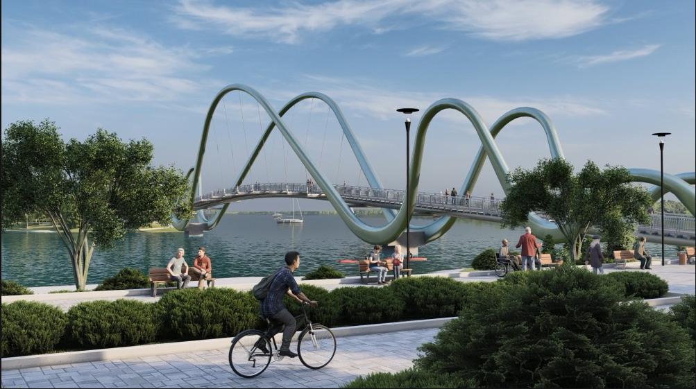 В Киеве началось строительство пешеходного моста на Оболонской набережной, ФОТО, фото-2, Фото пресс-службы Кличко