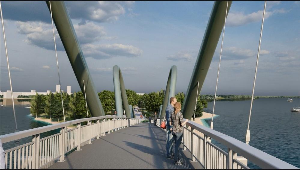 В Киеве началось строительство пешеходного моста на Оболонской набережной, ФОТО, фото-1, Фото пресс-службы Кличко