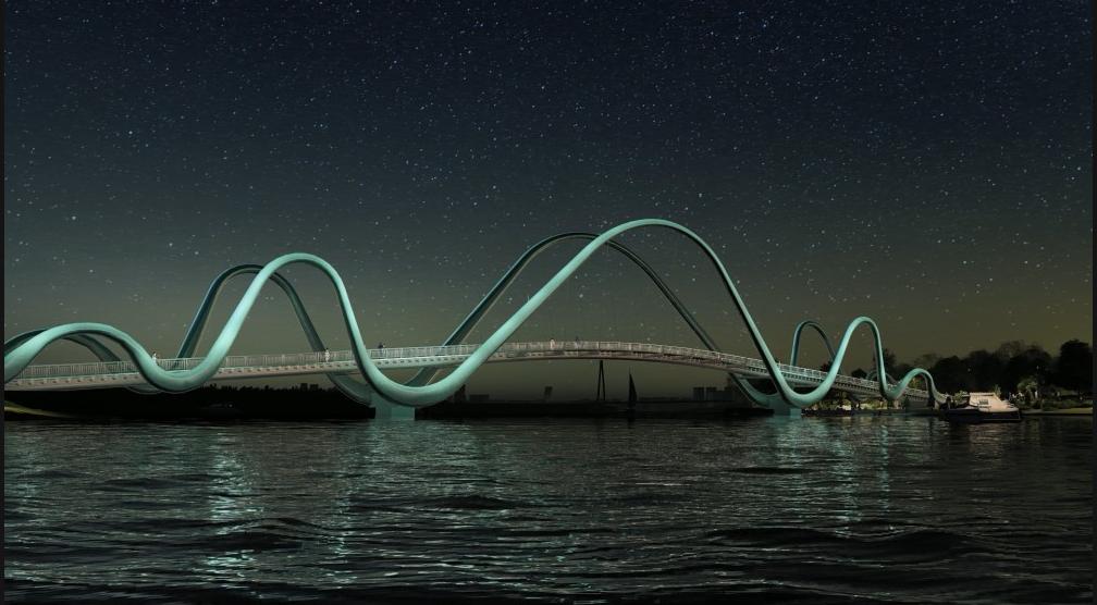 В Киеве началось строительство пешеходного моста на Оболонской набережной, ФОТО, фото-5, Фото пресс-службы Кличко