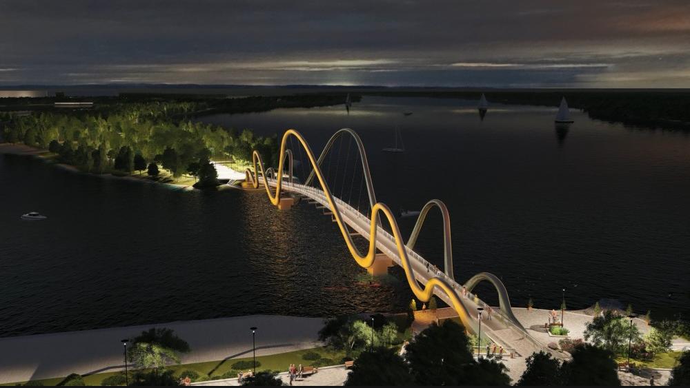 В Киеве началось строительство пешеходного моста на Оболонской набережной, ФОТО, фото-6, Фото пресс-службы Кличко