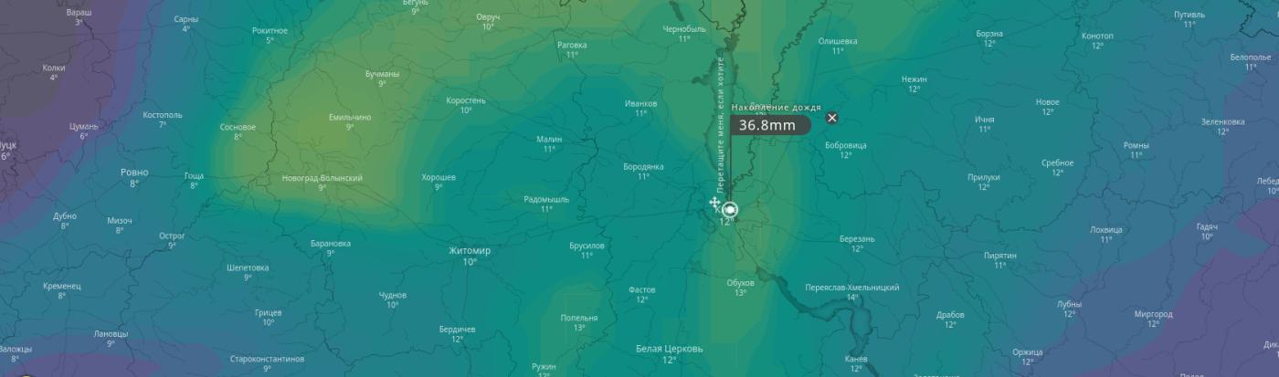Что обещают синоптики киевлянам: погода в Киеве сегодня и на выходных, фото-1, Скриншот сайта windy.com