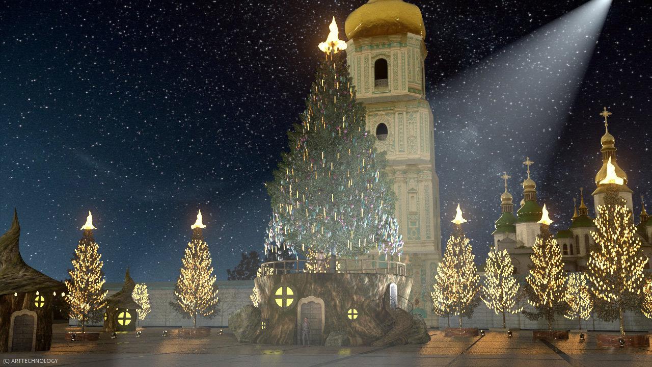 Эскиз елки и новогодних героев, Folk Ukraine