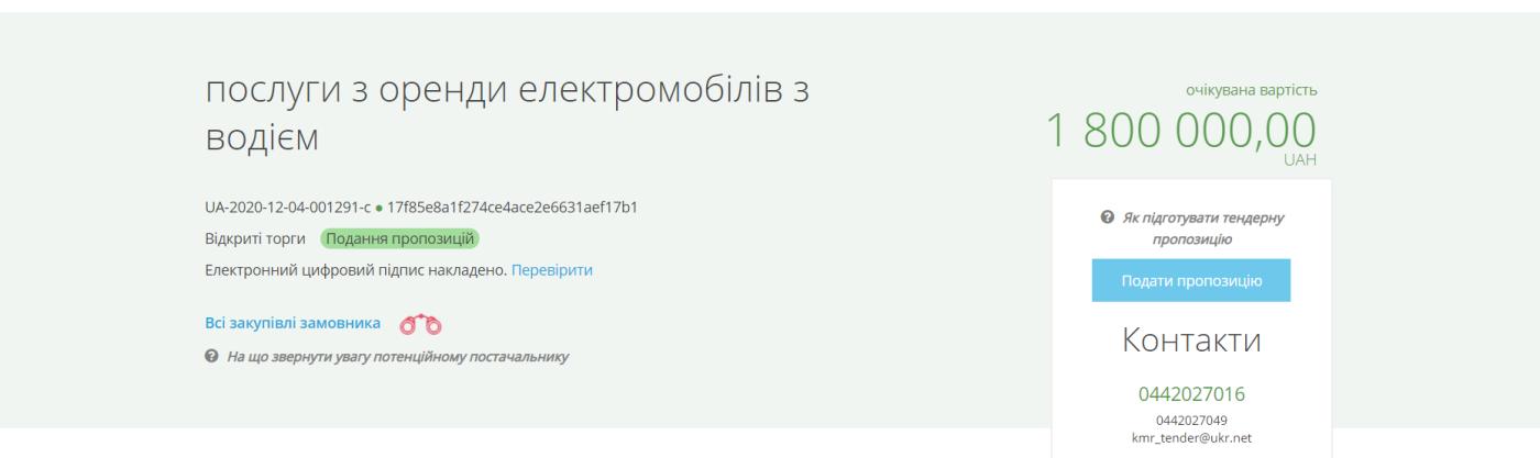 Киевсовет объявил тендер на 1,8 миллиона гривен, ProZorro