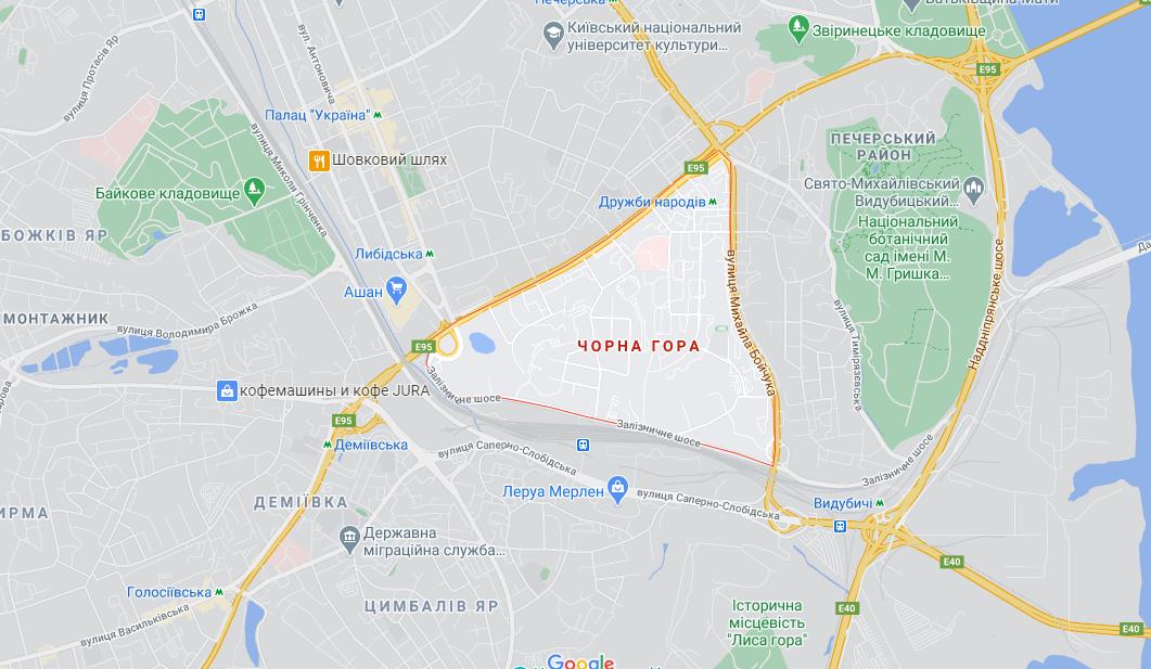 Татарка, Черная гора и Беличи: Микрорайоны Киева и почему они так называются, Фото: Google maps