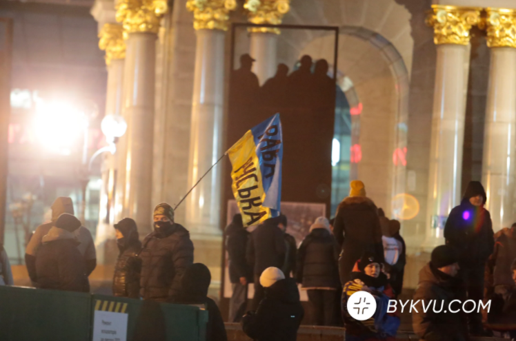"""На Майдане Независимости в ночь на 16 декабря ночевали в палатках 20-30 предпринимателей, """"BYKVU.COM"""""""