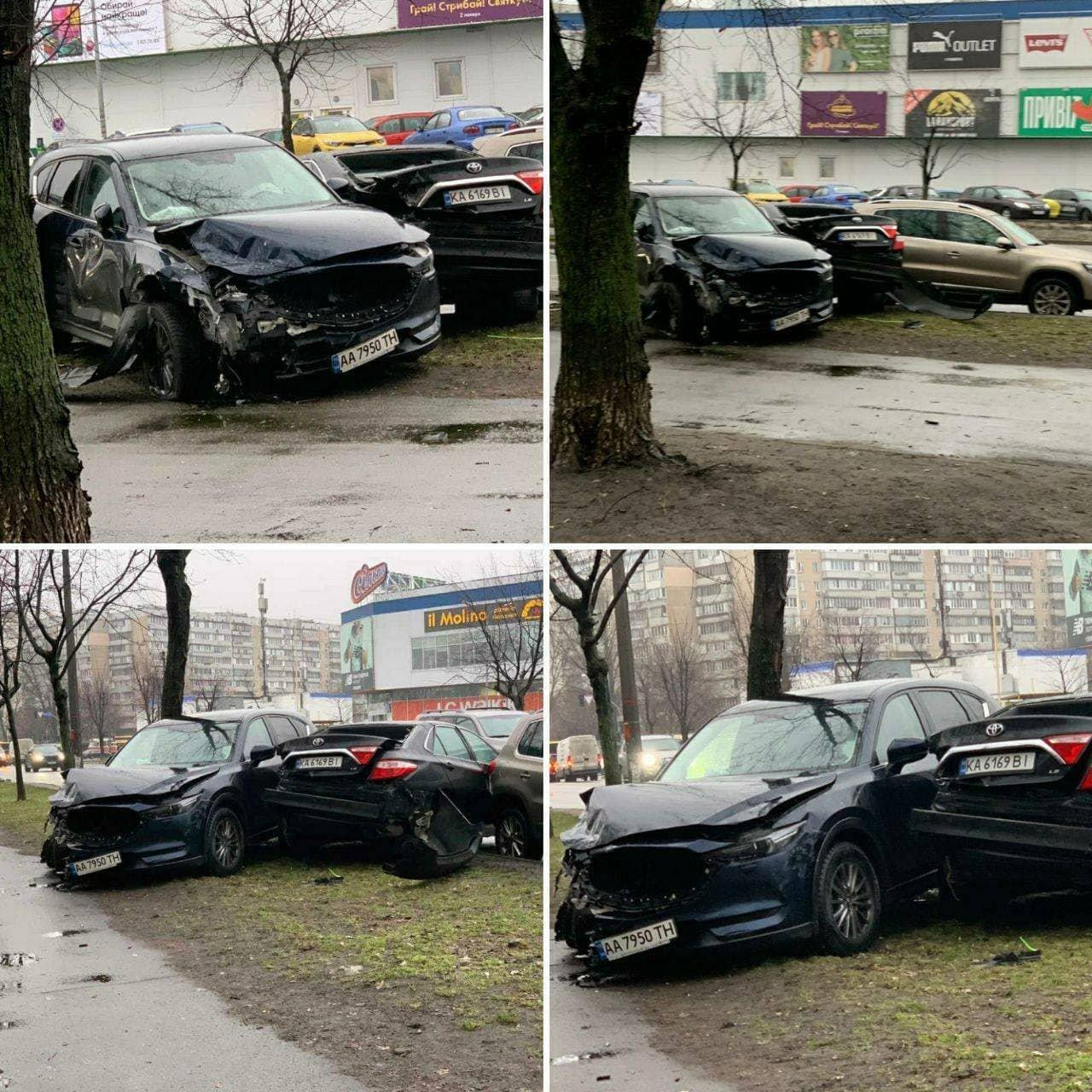 В Киеве серьезное ДТП: не разминулись две иномарки., Фото: Telegram-канал Киев сейчас