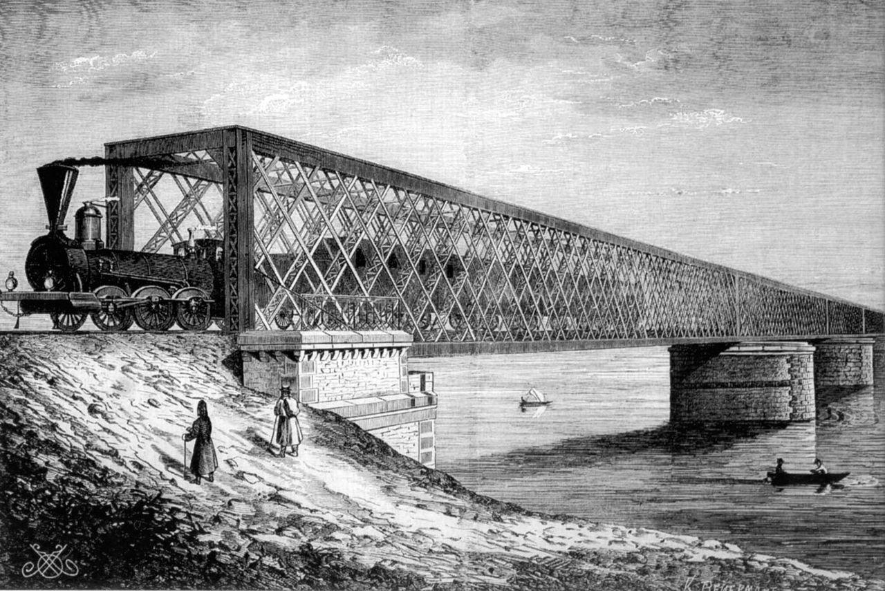 Железнодорожный мост через Днепр (мост Струве) в Киеве, Фото из Википедии