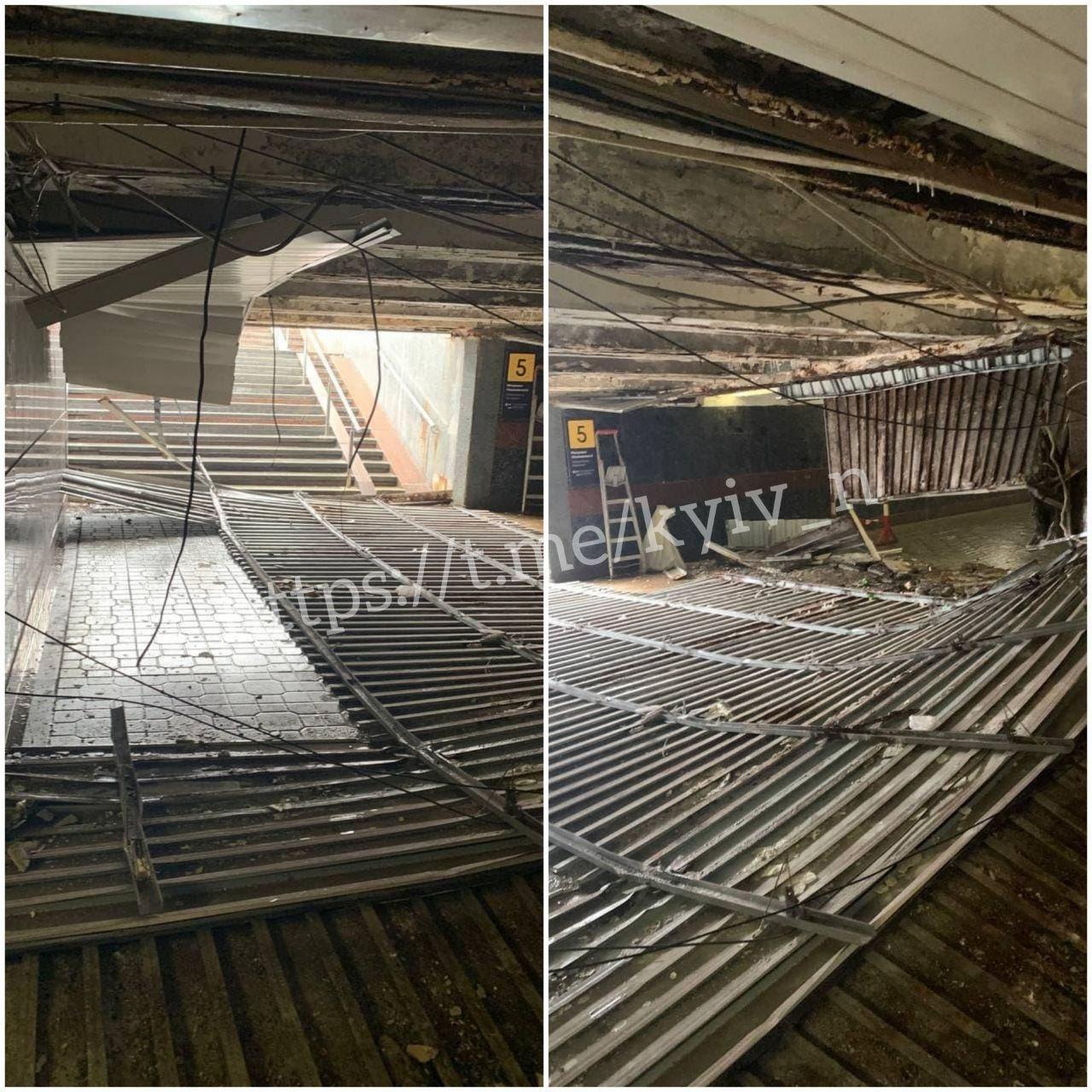 В Киеве рухнул потолок в подземном переходе на Майдане Незалежности., Фото из Telegram-канала Киев сейчас