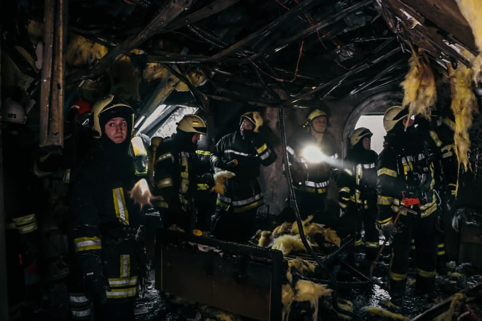 В Киеве ночью горел дом для престарелых., Фото ГСЧС