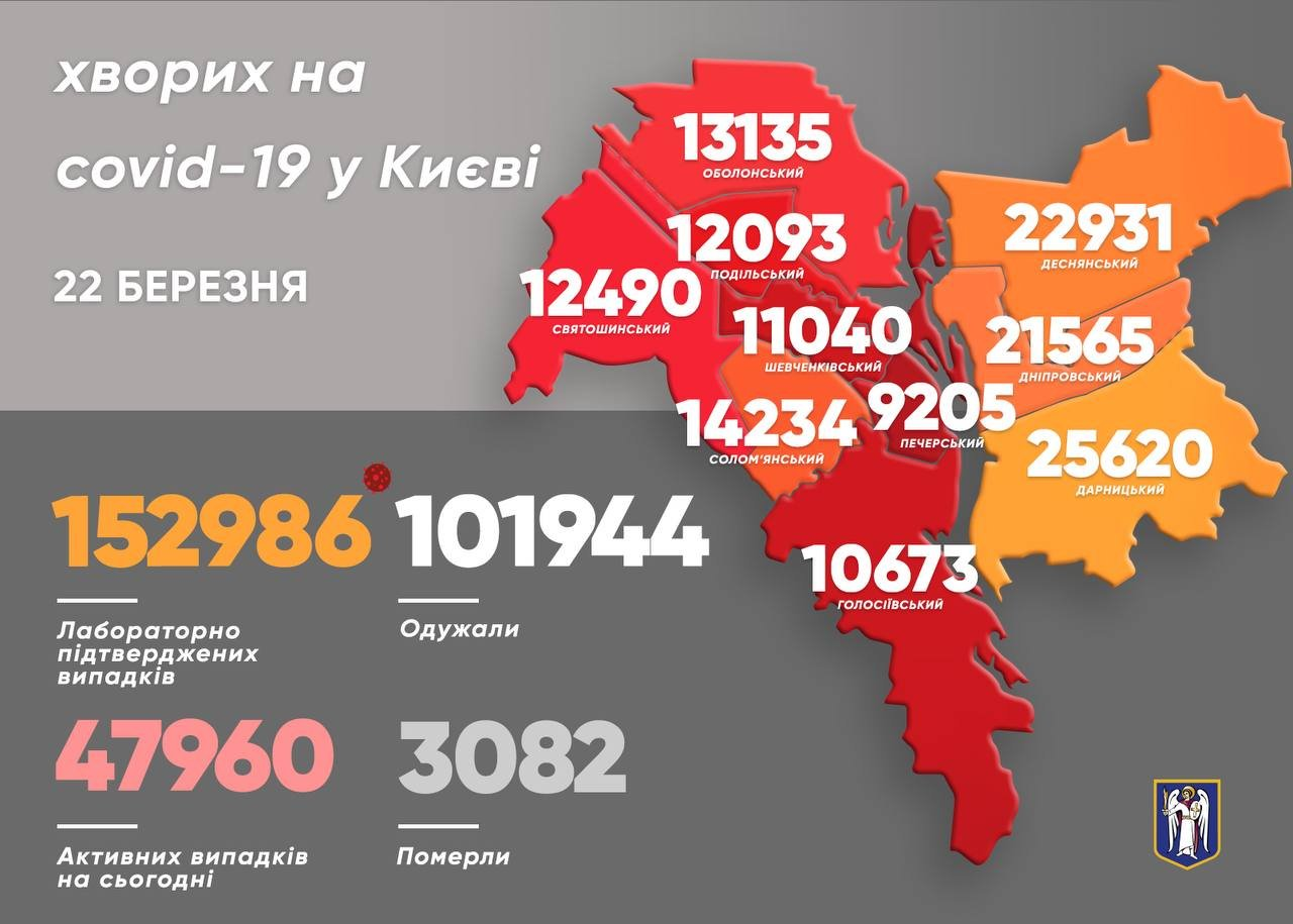 Статистика COVID-19 по районам на 22 марта.