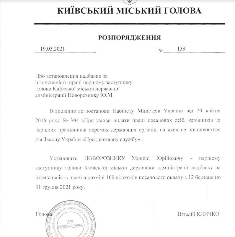 Недавно восстановленный заместитель Кличко будет получать надбавку к зарплате., Скриншот на сайте КГГА