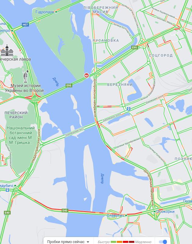 Пробки в Киеве, Фото: Google Maps,