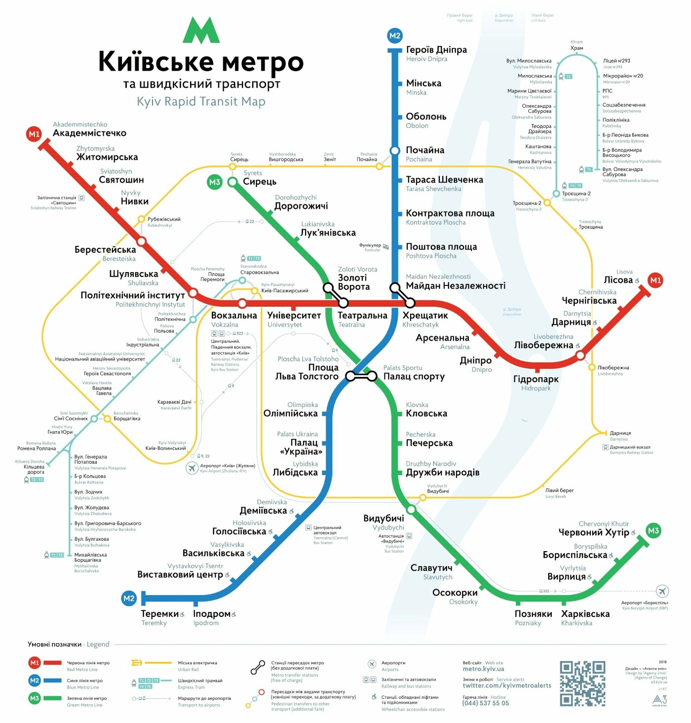 Схема метро Киева, из Википедии