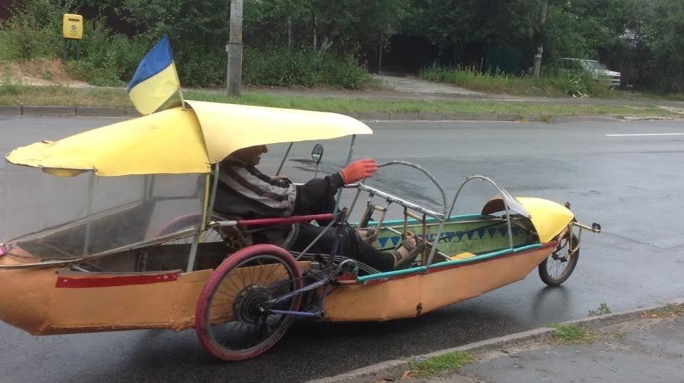 Самодельная лодка-велосипед в Киеве, Фото: Наблюдатель