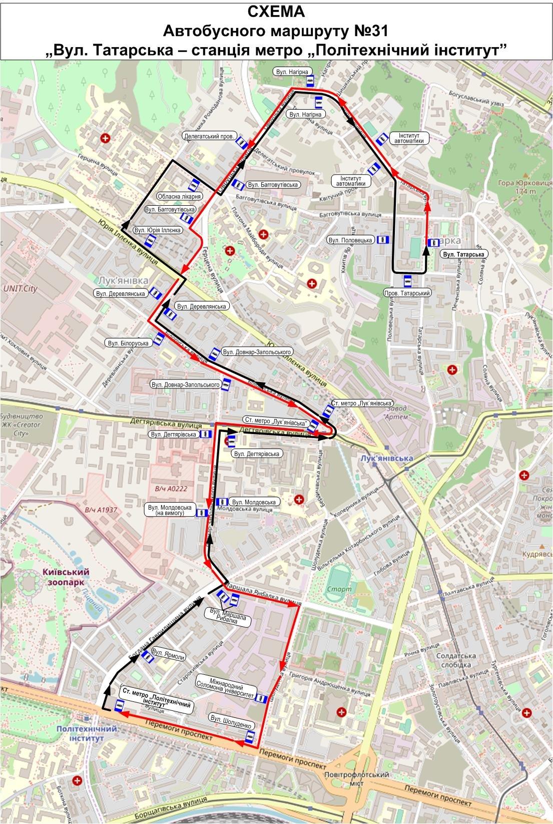 31 автобус Киев: актуальное расписание и его маршрут с картой, Фото: Киевпастранс