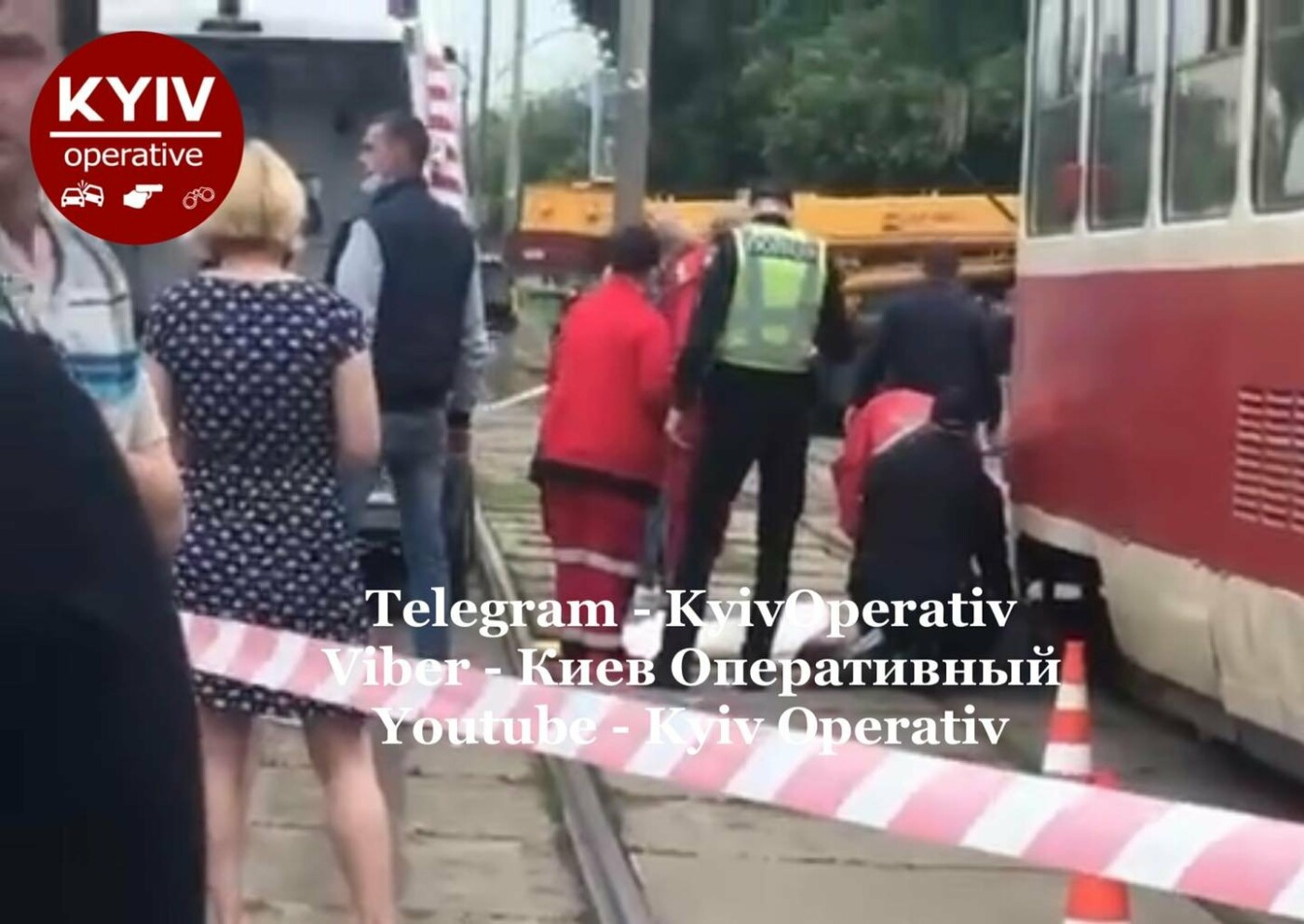 Девушка попала под трамвай в Киеве, Фото: Киев Оперативный