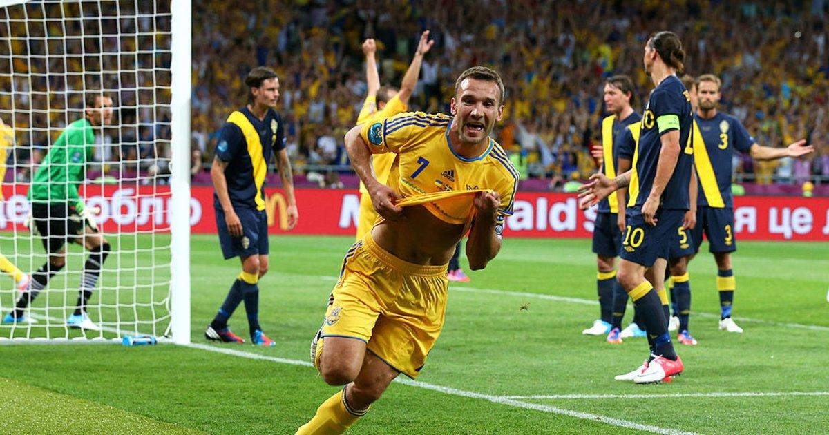 Андрей Шевченко после гола в ворота Швеции на ЕВРО-2012, Фото: isport ua
