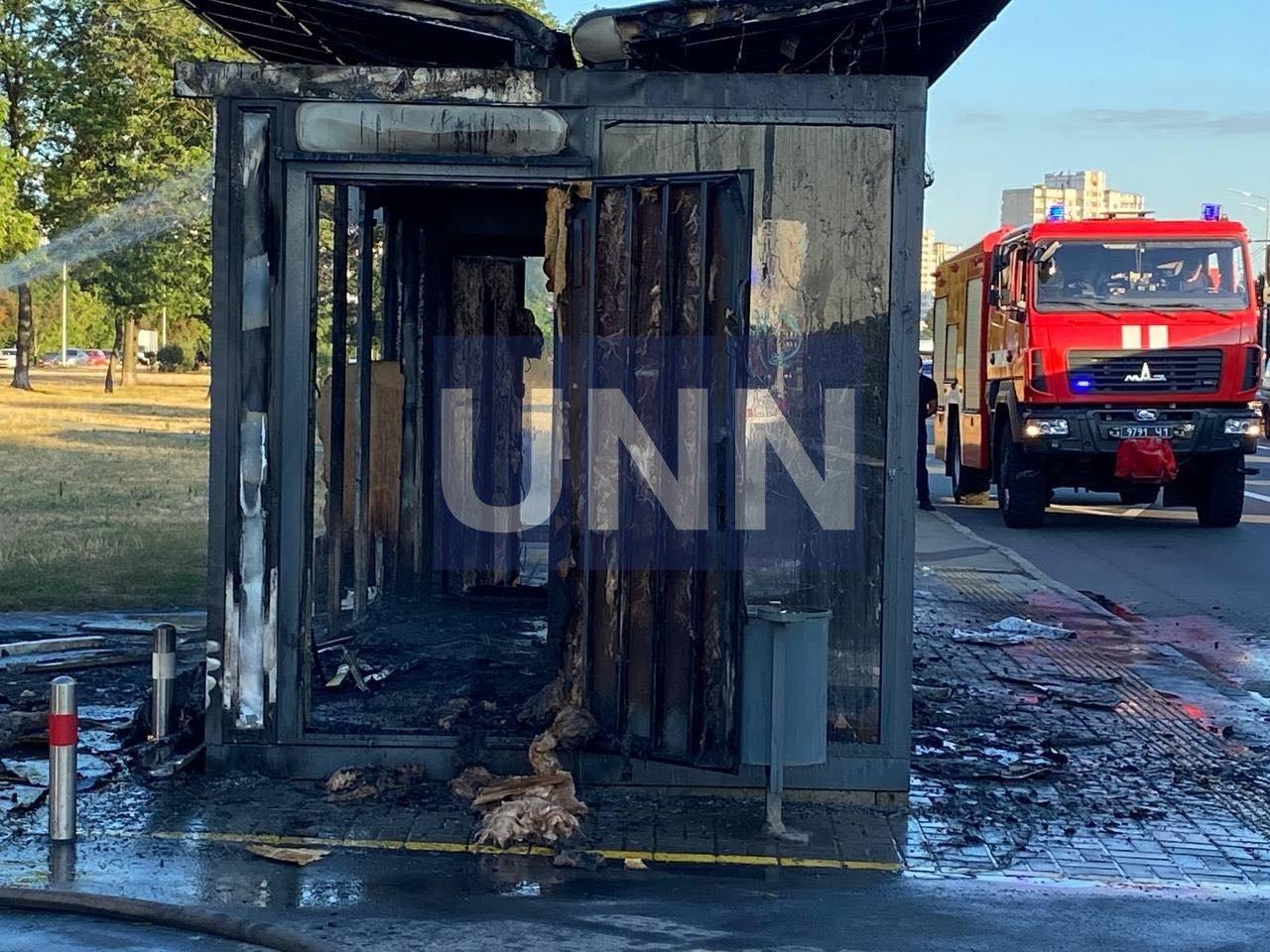 Пожар на остановке, Фото: unn com ua