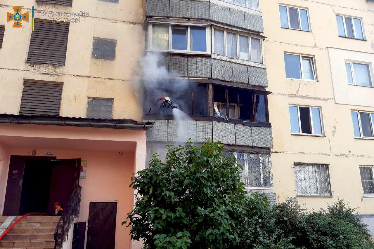 Пожар в многоэтажке в Киеве, Фото: ДСНС