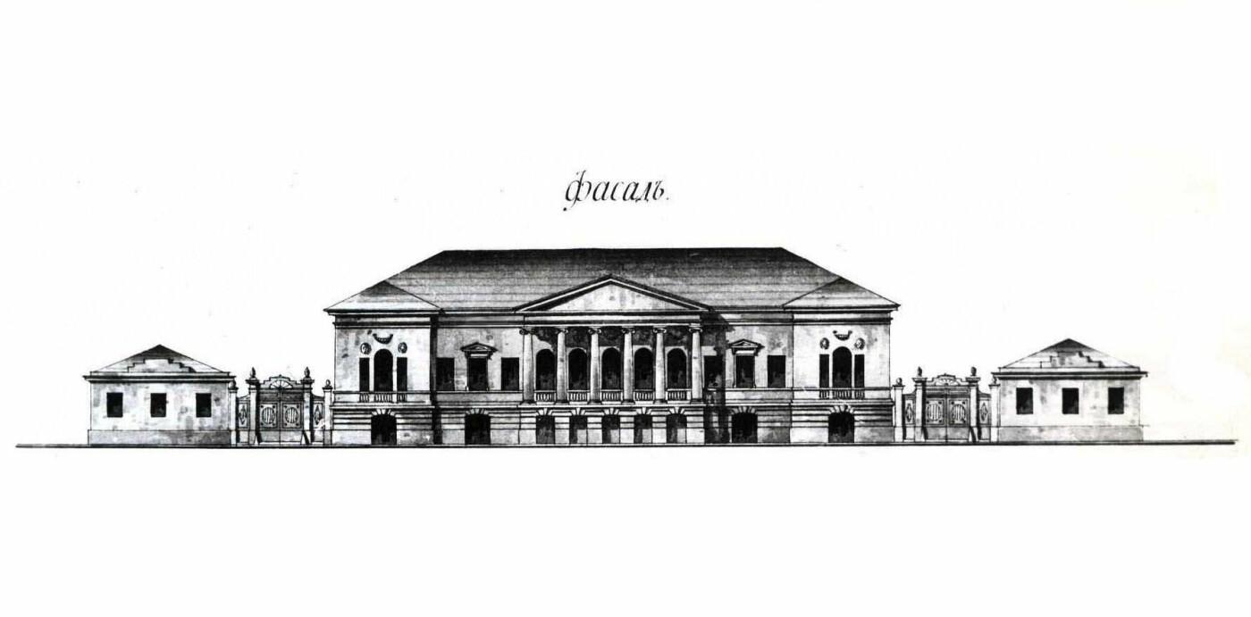 План фасада усадьбы Ипсиланти