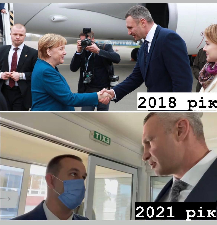 Кличко выложил коллаж, на котором сравнил, как выглядела встреча с Меркель в 2018 и 2021 года