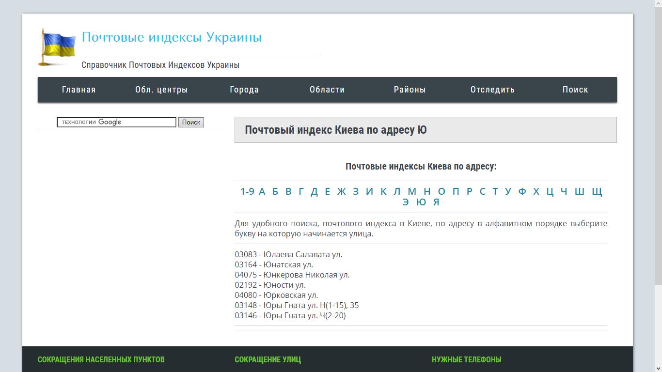Почтовый индекс Киева по районам: как определить и что он означает