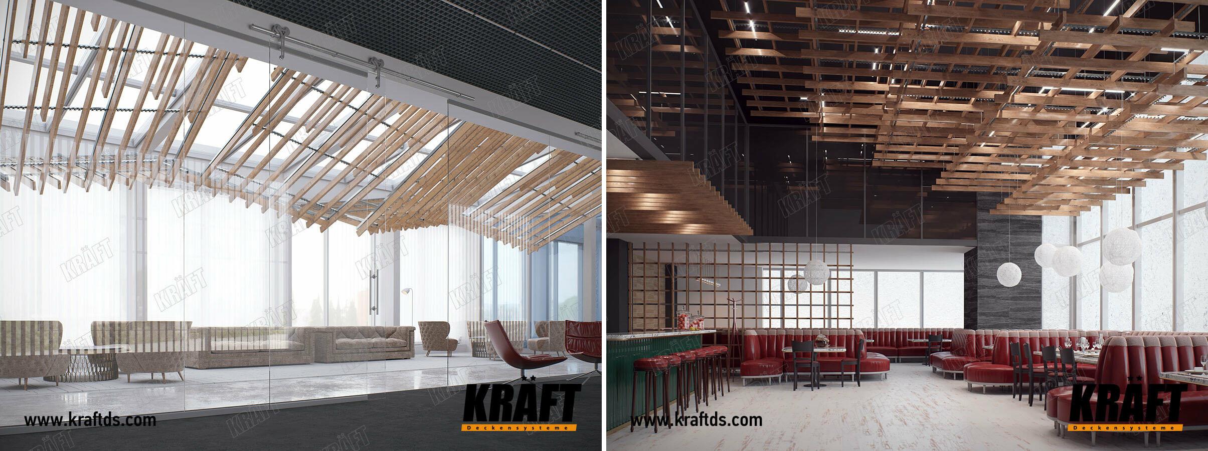 Многоуровневые реечные подвесные потолки KRAFT