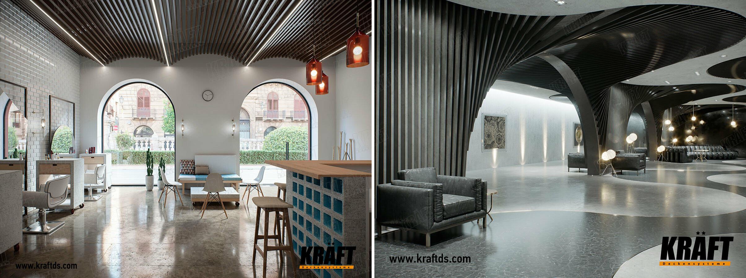 Декоративные подвесные потолки из кубообразной рейки KRAFT на гибкой траверсе